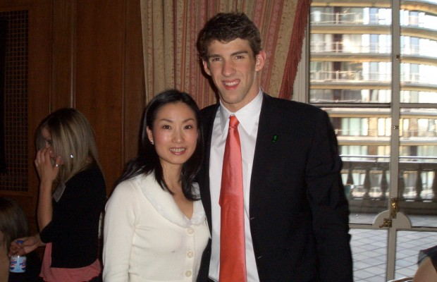 2005 Sullivan Award – Tiffany with World Record Holder and Olympic Gold Medalist Michael Phelps